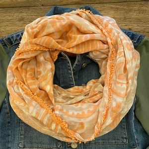 Anthropologie Boho Peach Infinity Lace Scarf